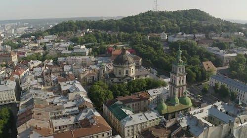 Aerial Drone Video of European City Lviv, Ukraine, Rynok Square, Central Town Hall, Dominican Church