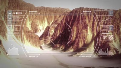 Unmanned Drone Exploring the Surface of Mars - Point of View Shot