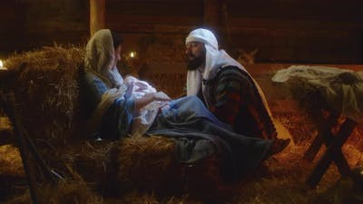 Joseph Speaking with Mary After Birth of Jesus