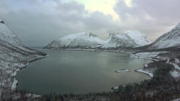 Thumbnail for Winter Fjord in Norway and Dramatic Sky