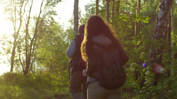 Thumbnail for Male and Female Tourists Hiking in Forest at Sunset