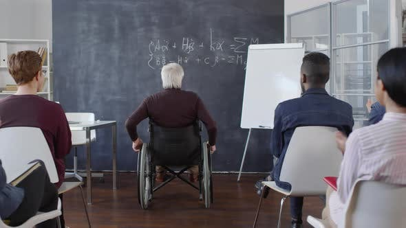 Thumbnail for Disabled Male Professor Entering Classroom