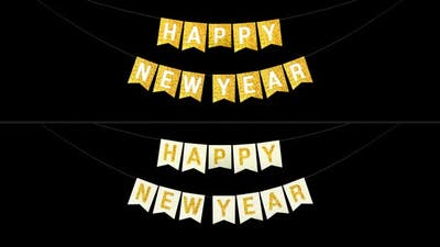 Happy New Year Bunting Flags Golden Glitter
