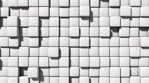Nahtlose Schleife weißer Mauerwerk Zementblock und Stein Hintergrund bewegt sich auf und ab volumetrisches Gleiten