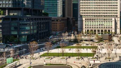 time lapse of unidentified people in the plaza in front of the Tokyo Station, Tokyo, Japan