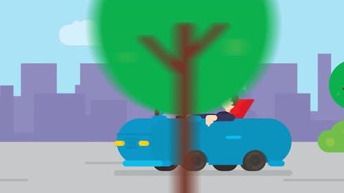 Flat Cartoon animation a man driving a car on road.