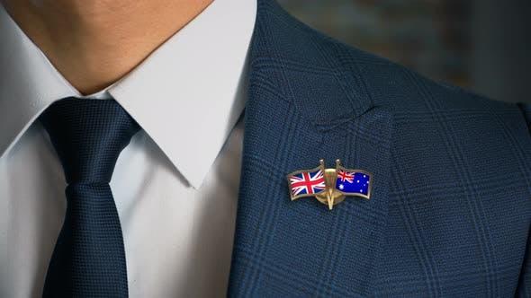Thumbnail for Businessman Friend Flags Pin United Kingdom Australia
