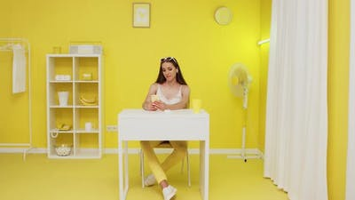 Young Woman Enjoys Video Call