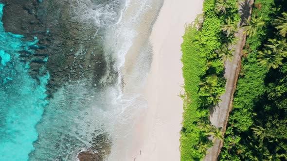 Thumbnail for Aerial Forward Flight Drone of Bizarre Paradise Tropical Beach Anse Bazarca at Mahe Island