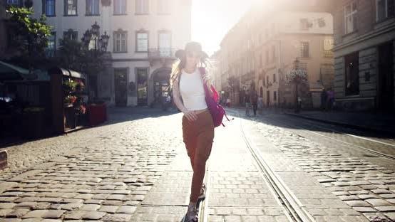 Thumbnail for Happy Girl Walking on Summer City