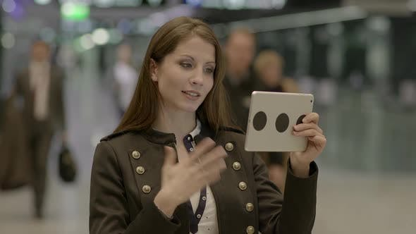 Thumbnail for Young Female Person Communicating with Digital Tablet Computer
