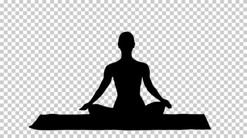 Silhouette woman in Lotus pose, Alpha Channel