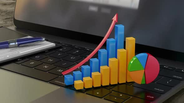 3D Financial Graphs and Chart, Business Growth, Company Statistics, Success