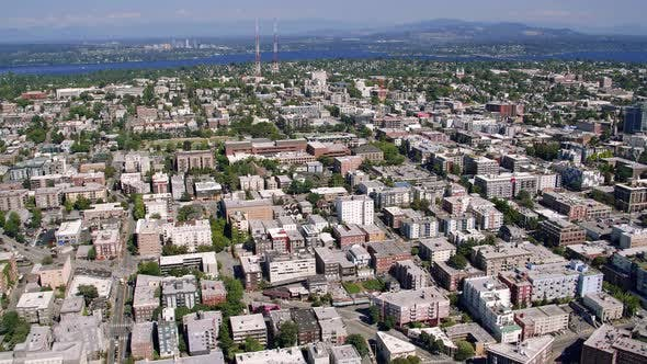 Thumbnail for Aerial Over Capital Hill Seattle With Bellevue Background
