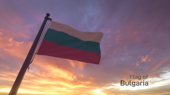 Bulgaria Flag on a Flagpole V3