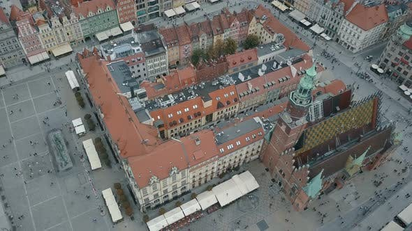 Thumbnail for Aerial View of Wroclaw City. Beautiful, Old Town. Crowded Market Square of a Big European City.