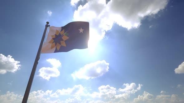 Topeka City Flag (Kansas) on a Flagpole V4