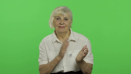Thumbnail for An Elderly Woman Clapping in Hands. Old Pretty Grandmother. Chroma Key