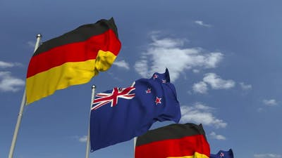 Many Flags of New Zealand and Germany