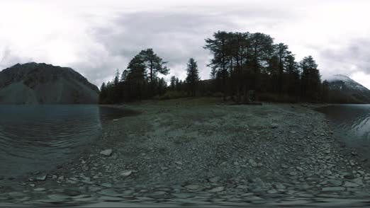 Thumbnail for Mountain Lake 360 Vr at the Summer or Autumn Time. Wild Nature and Rural Mount Valley. Green Forest