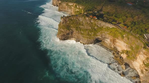 Thumbnail for Rocky Coastline on the Island of Bali. Aerial View