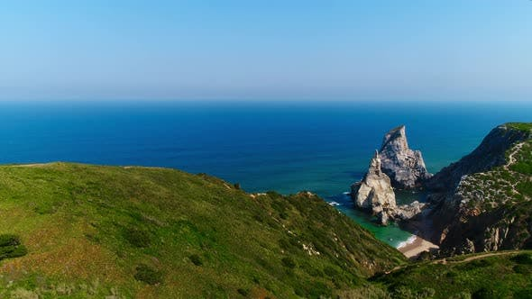 Thumbnail for Aerial Drone Footage of Sintra Coast. Praia Da Ursa Beach and Cabo Da Roca
