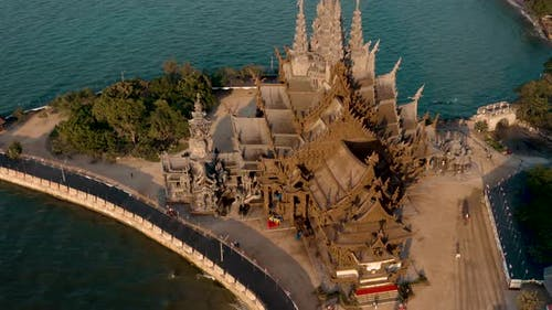Aerial View of the Sanctuary of Truth in Pattaya, Thailand