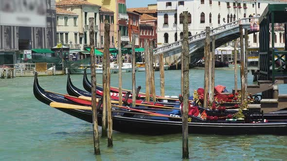 Thumbnail for Beautiful Gondolas Docked in Venice Canal, Water Transport, Sightseeing Tour