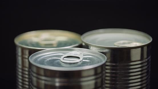 Thumbnail for Food Supplies Canned Food Rotating on Black Background