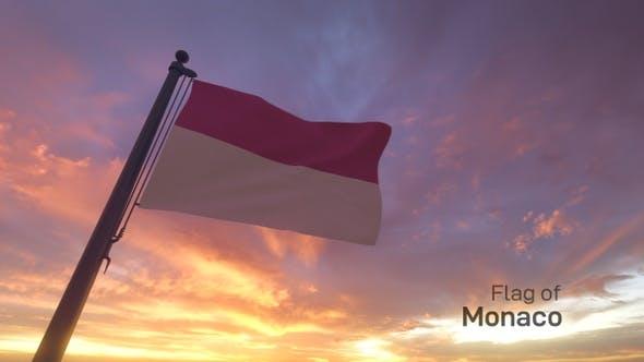 Thumbnail for Monaco Flag on a Flagpole V3