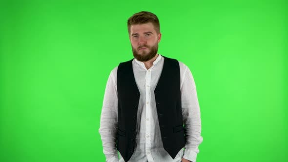 Thumbnail for Man Is Offended and Looks Away. Green Screen