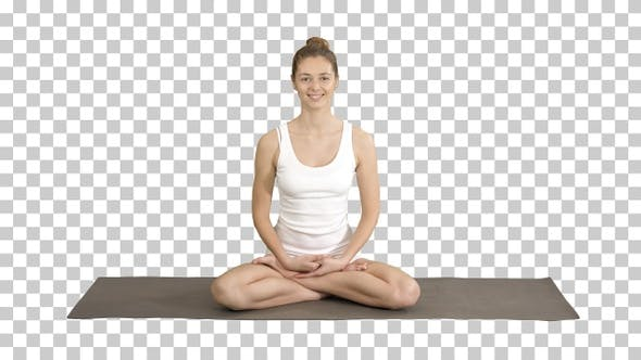 Thumbnail for Beautiful woman in white clothers sitting on yoga mat and talking