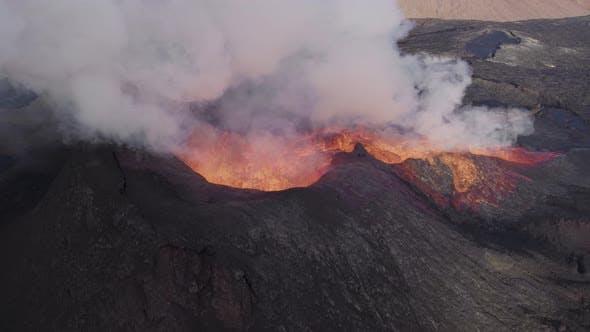 Drone Over Erupting Fagradalsfjall Volcano
