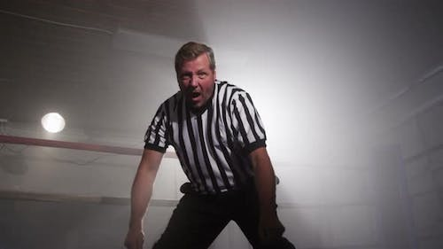 Referee in ring counts down