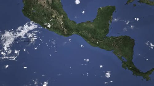 Airplane Flying To Guatemala City on the Map