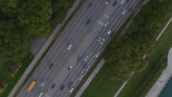 Aerial of traffic on street in Chicago