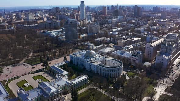 The Verkhovna Rada of Ukraine. Main Parliament Building of Ukraine in Kiev. Aerial Footage