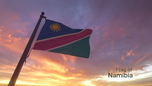 Thumbnail for Namibia Flag on a Flagpole V3