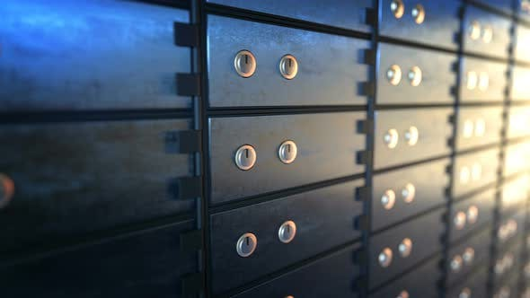 Thumbnail for Close-up of Safety Deposit Boxes in a Bank Vault Room