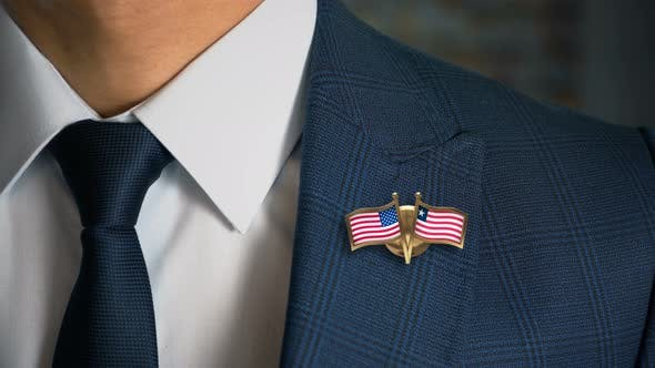 Thumbnail for Businessman Friend Flags Pin United States Of America Liberia