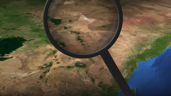 Magnifying Glass Finds Nairobi City on the Map