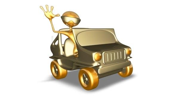 Thumbnail for Gold Man 3D Character - Cartoon Auto Rally
