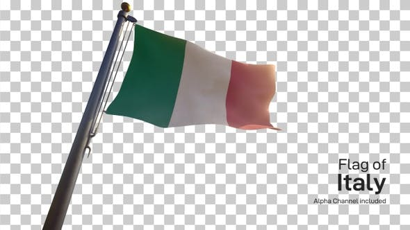 Thumbnail for Italy Flag on a Flagpole with Alpha-Channel
