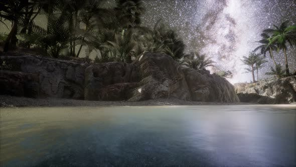 Cover Image for Beautiful Fantasy Tropical Beach with Milky Way Star in Night Skies