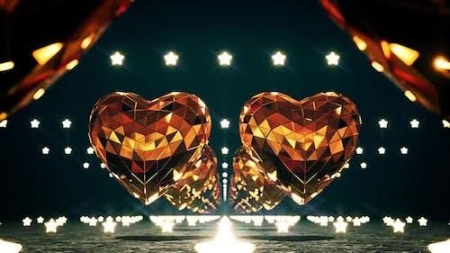 Goldene Disco Herzen und Sterne