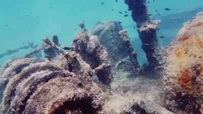 Submerged wreck Ship at the bottom of the ocean
