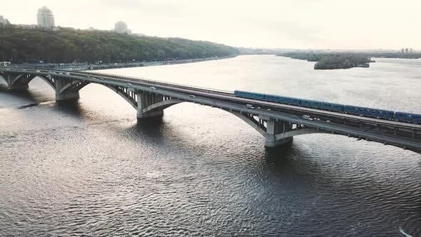Aerial View of the Metro Bridge in Kiev Ukraine