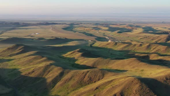 Thumbnail for Aerial View of Yurts Between Montains Mongolia