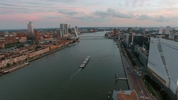 Thumbnail for Aerial City View of Rotterdam with River