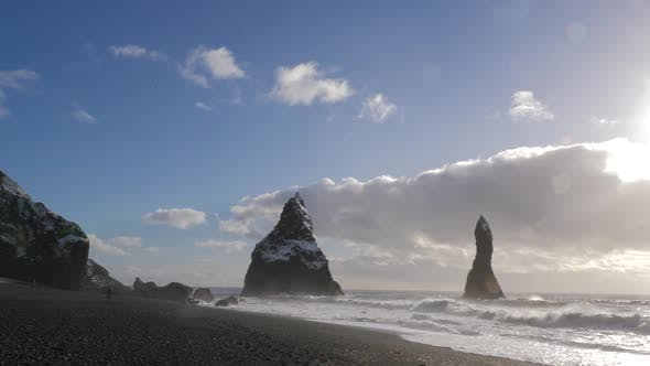 Thumbnail for Iceland Black Sand Beach Reveal Basalt Rock Formations Trolls Toes